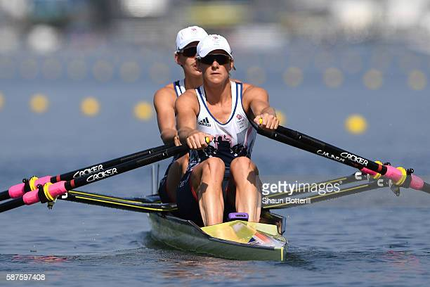 Victoria Thornley and Katherine Grainger of Great Britain compete during the Women's Sculls Semifinal on Day 4 of the Rio 2016 Olympic Games at the...