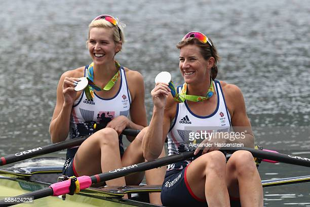 Victoria Thornley and Katherine Grainger of Great Britain pose with their silver medals after finishing second in the Women's Double Sculls Final A...