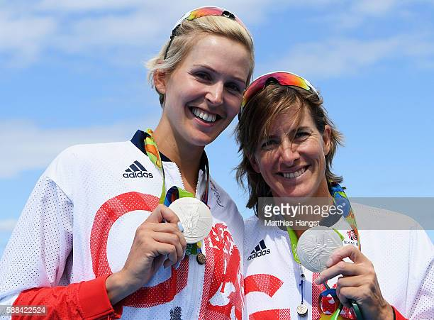 Victoria Thornley of Great Britain and Katherine Grainger of Great Britain celebrate with their silver medals after finishing second in the Women's...