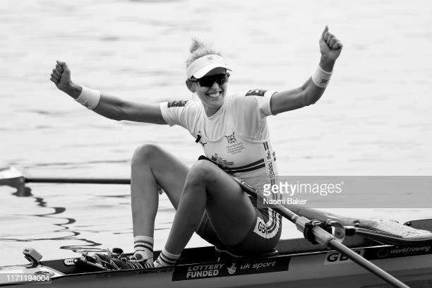 Victoria Thornley of Great Britain celebrates after she crosses the line 2nd place in the Women's Single Sculls semi final and qualifies her boat for...