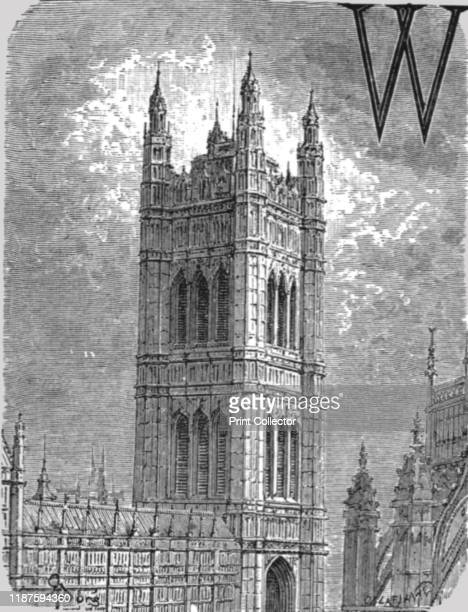 Victoria Tower' 1872 Victoria Tower in the Palace of Westminster London was designed by Charles Barry in Perpendicular Gothic style and completed in...