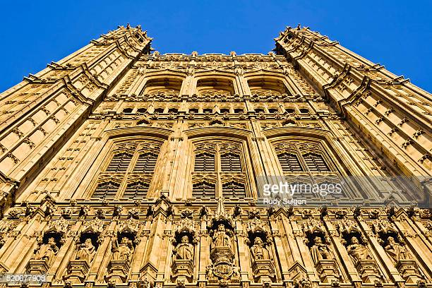 victoria tower at the houses of parliament - victoria tower stock pictures, royalty-free photos & images
