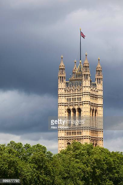 victoria tower on the houses of parliament, london, england, uk - victoria tower stock pictures, royalty-free photos & images