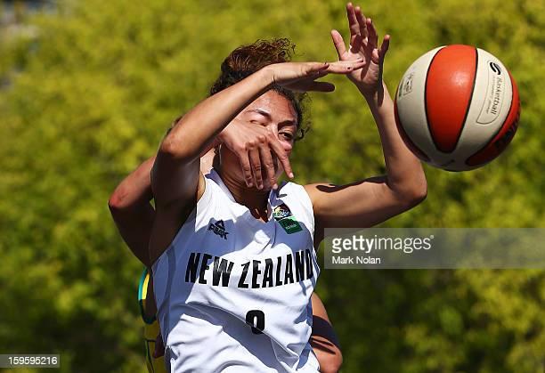Victoria Unicomb of Australia Green fouls Ella Fotu of New Zealand in the Womens Basketball 3x3 match between Australia Green and New Zealand during...