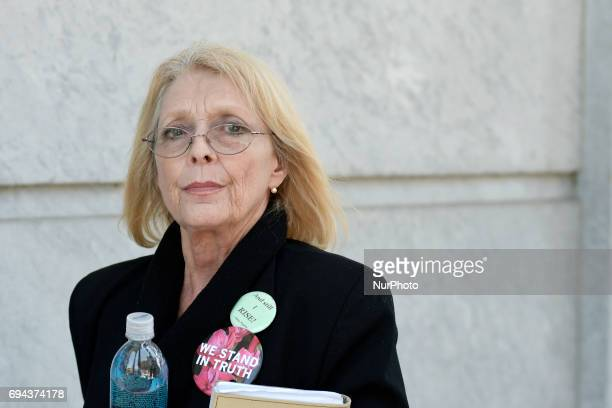 Victoria Valentino leaves Montgomery County Courthouse during the mid-day break on the fifth day of the Bill Cosby sexual assault trail in...