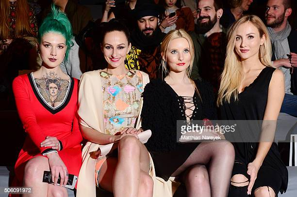 Victoria van Violence Marla Blumenblatt Anna Hiltrop and Carmen Mercedes Kroll attend the Tulpen Design show during the MercedesBenz Fashion Week...