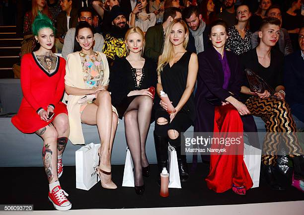 Victoria van Violence Marla Blumenblatt Anna Hiltrop Carmen Mercedes Kroll Anja Knauer and Maximilian Seitz attend the Tulpen Design show during the...