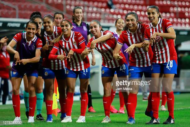 Victoria Vazquez of Chivas celebrates after scoring the second goal of his team during the 6th round match between Chivas and Cruz Azul as part of...