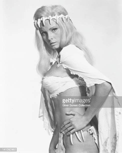 Victoria Vetri US actress wearing an animal hide bikini in a studio portrait issued as publicity for the film 'When Dinosaurs Ruled the Earth' 1970...