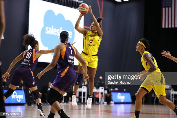 Victoria Vivians of the Indiana Fever shoots the ball against the Phoenix Mercury on July 29, 2020 at Feld Entertainment Center in Palmetto, Florida....