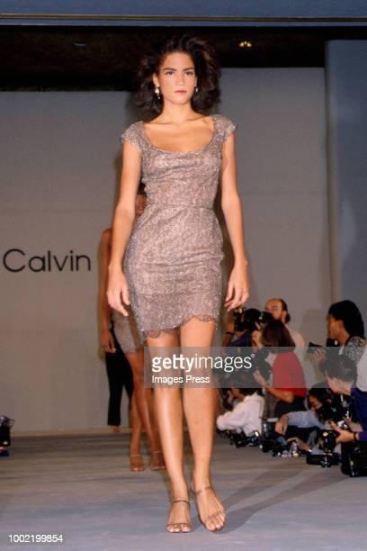 Victoria Webb models Calvin Klein circa 1988 in New York.
