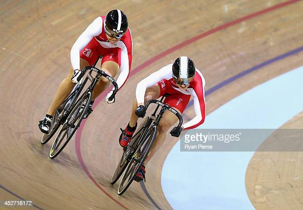 Victoria Williamson and Jess Varnish of England compete in the Women's Sprint Quarter Final at Sir Chris Hoy Velodrome during day three of the...