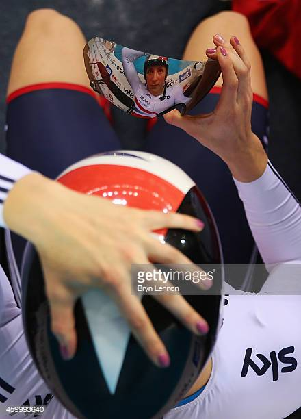 Victoria Williamson of Great Britain adjusts her visor before competing in the Women's Team Sprint Qualifying Session on day one of the UCI Track...