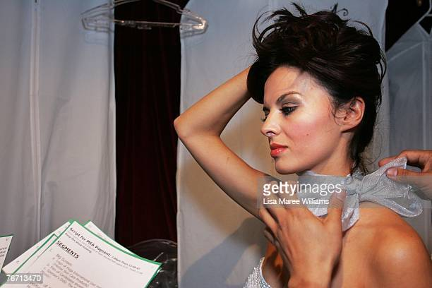Victoria Winter prepares backstage to hand over the crown during the Miss Earth Australia contest at the Enmore Theatre September 13 2007 in Sydney...