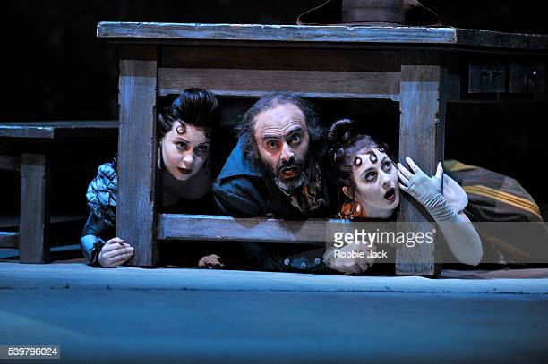 Victoria Yarovaya as Tisbe Ubberto Chiummo as Don Magnifico and Elena Xanthoudakis as Clorinda in Glyndebourne's production of Gioachino Rossini's La...