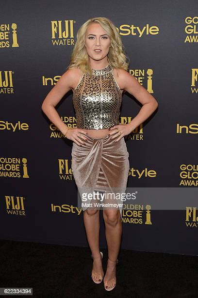 Victoriah Bech arrives at the Hollywood Foreign Press Association and InStyle celebrate the 2017 Golden Globe Award Season at Catch LA on November 10...