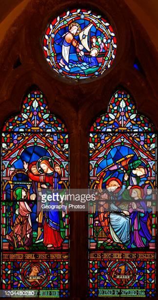 Victorian 19th century stained glass window church of Bradfield Combust Suffolk England UK c 1861