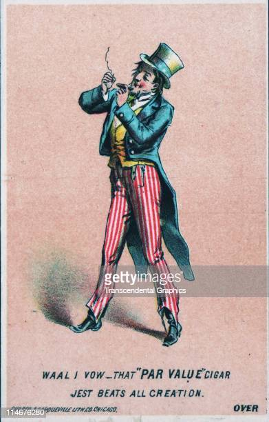 Victorian advertising trade card from the Par Value cigar company with Uncle Sam lighting up c1880