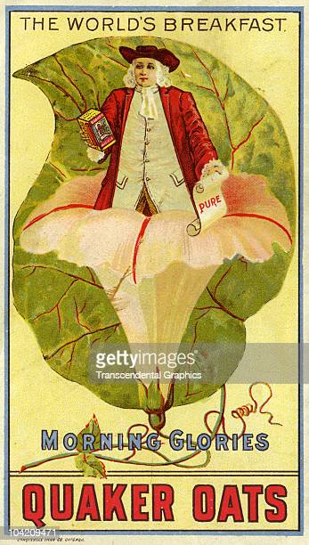 Victorian advertising trade card from the Quaker Oats company with a the familar Quaker man coming out of a lilly, which is actually an advertising...