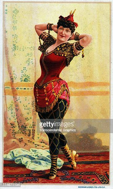 Victorian advertising trade card with a sexy woman stage performer on the entire front of the card promoting the Dickman Jones Litho company on the...