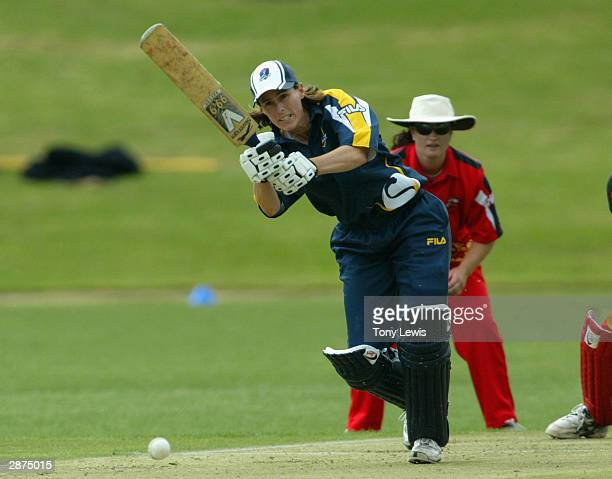 Victorian captain Belinda Clark in action on her way to 98 not out in the match between the South Australian Scorpions and the Victorian Spirit at...