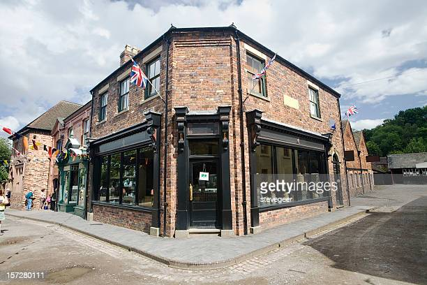 victorian corner shop - convenience store stock photos and pictures