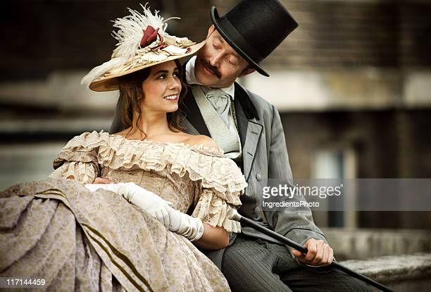 victorian couple in love having a good time together - victorian style stock pictures, royalty-free photos & images