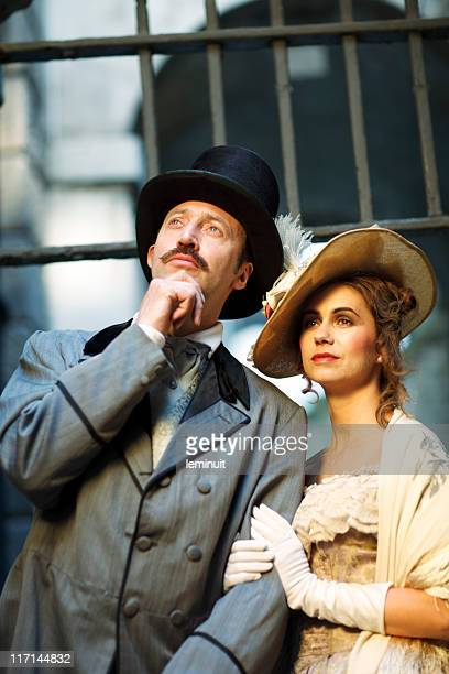 victorian couple - top hat stock pictures, royalty-free photos & images