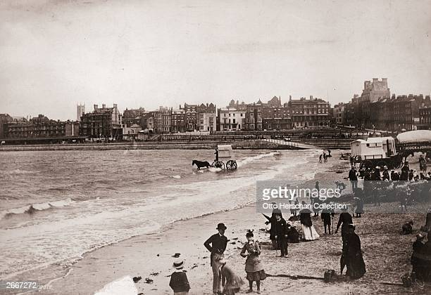 Victorian daytrippers on the beach at Margate in Kent