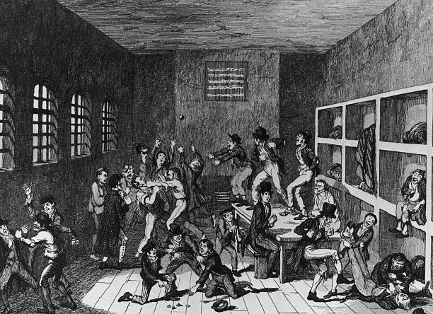 A victorian depiction of prisoners fighting and gambling...