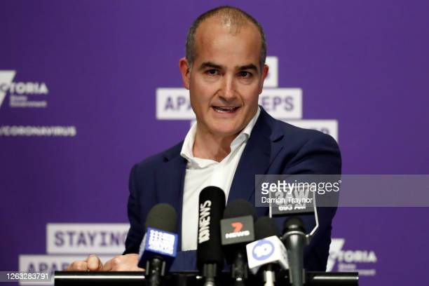 Victorian Deputy Premier and Minister for Education James Merlino speaks to the media during a press conference on August 02, 2020 in Melbourne,...