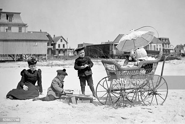 Victorian family enjoys a day at the beach.
