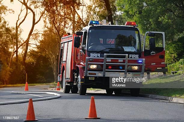 Camion de pompier victorienne à un brasier