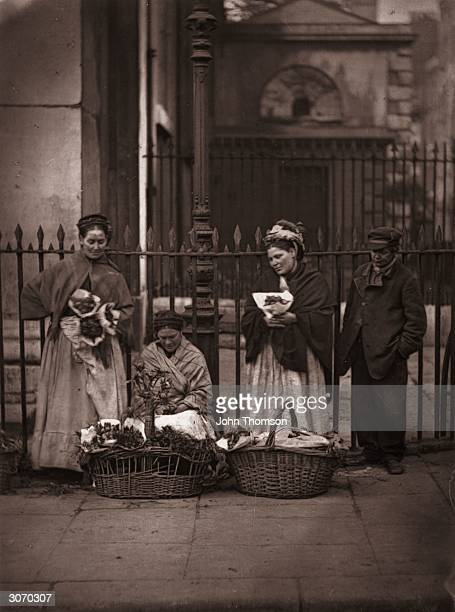 Victorian flower women selling bouquets at Covent Garden market Original Publication From 'Street Life In London' by John Thomson and Adolphe Smith...