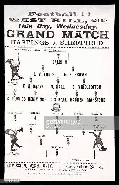 A Victorian football programme or match card for the Grand Match between Hastings and Sheffield played at West Hill Hastings circa 1885