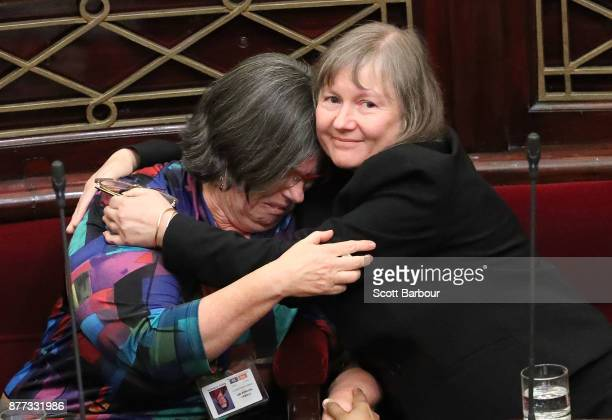 Victorian Greens MPs Colleen Hartland and Samantha Dunn react as the bill passes after the Upper House voted to pass historic euthanasia laws on...