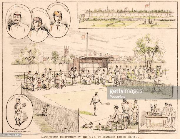 Victorian hand-coloured print featuring action during a lawn tennis tournament with portraits of Misters Lawford, Lubbock and Woodhouse and the Demon...
