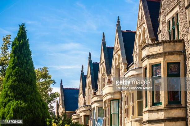victorian houses in cardiff - cardiff stock pictures, royalty-free photos & images
