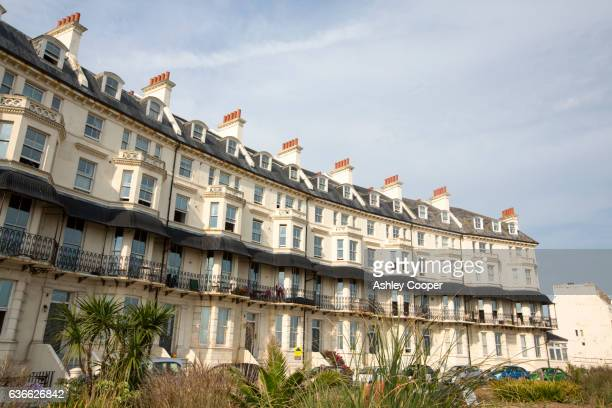 Victorian houses on the promenade in Folkestone, Kent, UK.