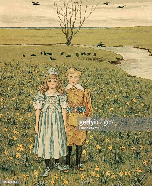 Victorian illustration of a brother and sister standing in a lush meadow on the family estate 1881 Chromolithograph