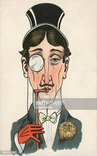 Victorian illustration of a rich dandy wearing a tophat and monocle 1902 Lithograph