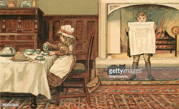 Victorian illustration of a young girl having breakfast in the dining room of the family estate while her brother reads a newspaper by a fireplace...