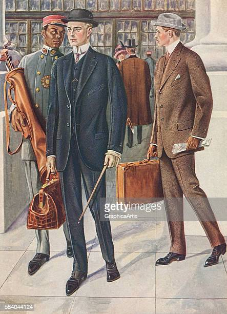 Victorian illustration of two fashionable gentlemen at the train station wearing tailored pinstripe suits 1890 Screen print