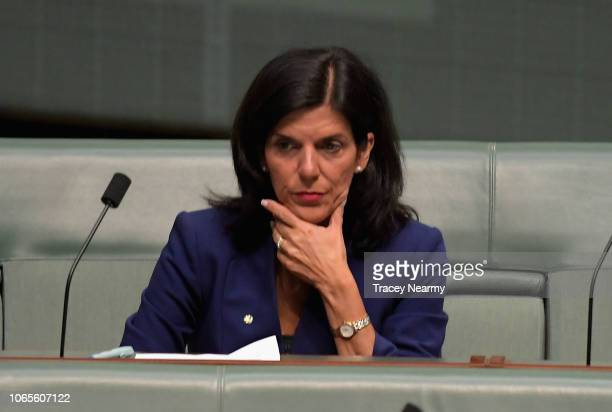 Victorian Liberal Julia Banks sits on the cross bench for the first time after resigning from the Liberal Party at Parliament House on November 27...