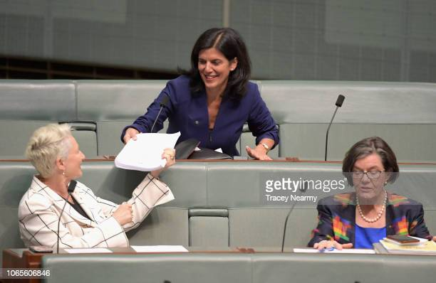 Victorian Liberal Julia Banks with Independant MP's Kerryn Phelps and Cathy McGowan sits on the cross bench for the first time after resigning from...