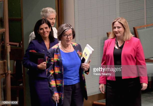 Victorian Liberal Julia Banks with Independant MP's Kerryn Phelps Cathy McGowan and Rebekha Sharkie arrive to sits on the cross bench for the first...
