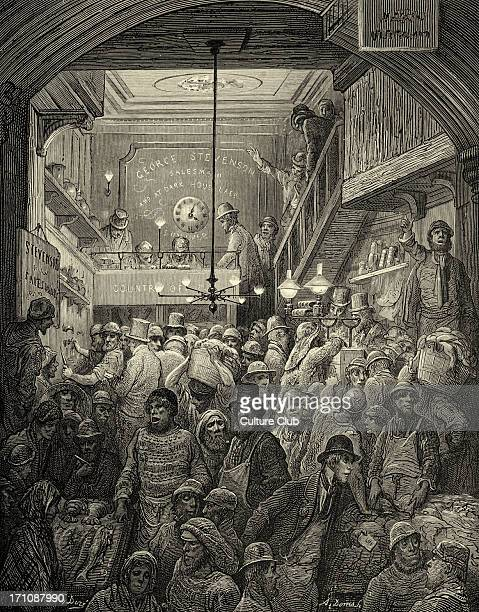 Victorian London Billingsgate fish market early in the morning Engraving by Gustave Doré from 'London a Pilgrimage by Gustave Doré and Blanchard...