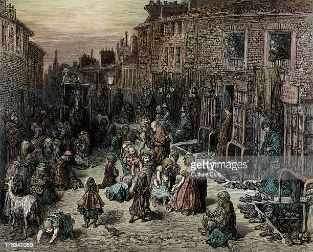 Victorian London street with children in Covent Garden Seven dials Dudley Street Engraving by Gustave Doré from 'London a Pilgrimage by Gustave Doré...