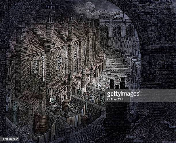 Victorian London streets with back to back terraces Engraving by Gustave Doré from 'London a Pilgrimage by Gustave Doré and Blanchard Jerrold' 1872