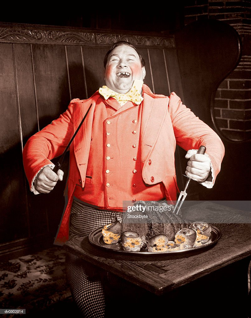 Victorian Man Carving a Roast : Stock Photo
